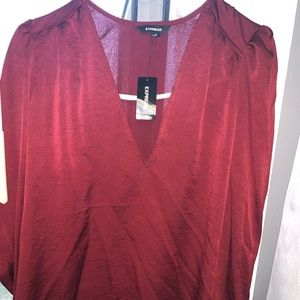 Red puff sleeve express blouse